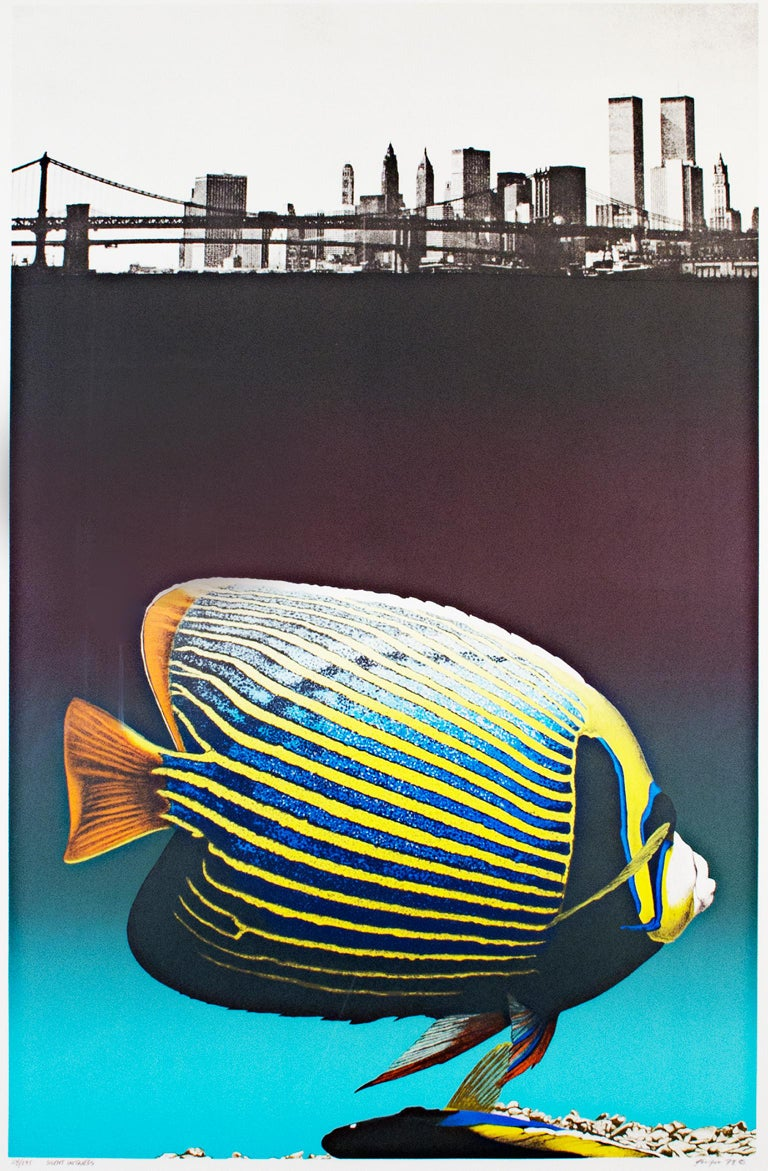 """""""Silent Witness"""" is an original color lithograph by Michael Knigin. It features a striped blue-and-yellow fish and the New York skyline. The artist signed the piece lower right and titled & editioned it lower left. The edition number is"""