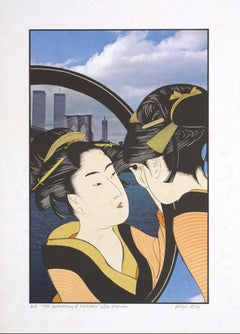 """""""The Reflection of Sugatami After Utamaro,"""" Color Lithograph by Michael Knigin"""