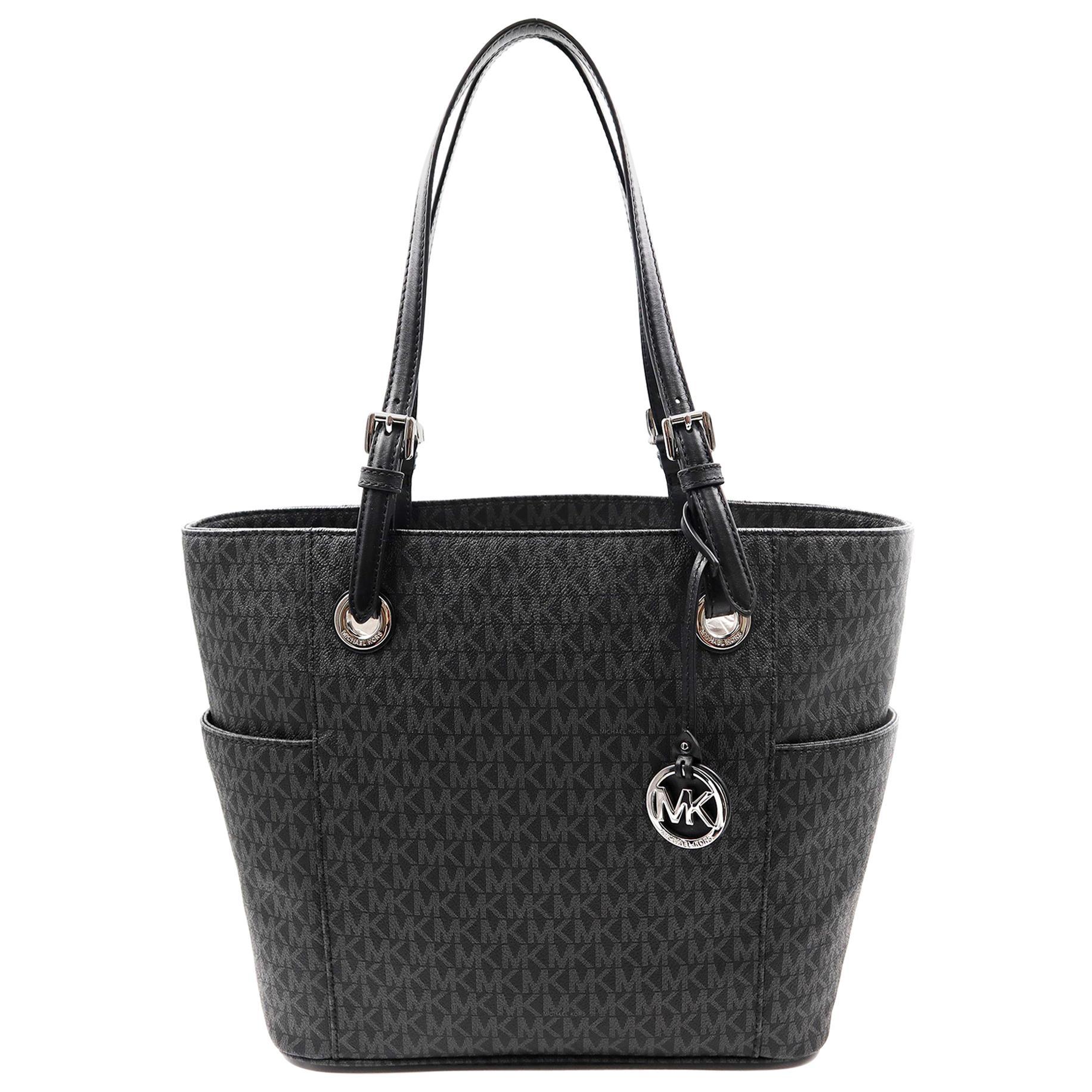 Michael Kors 30S7STTT3V Jet Set EW Signature Logo Tote Black Womens Bag