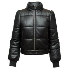 Michael Kors Black Collection Leather Puffer Jacket