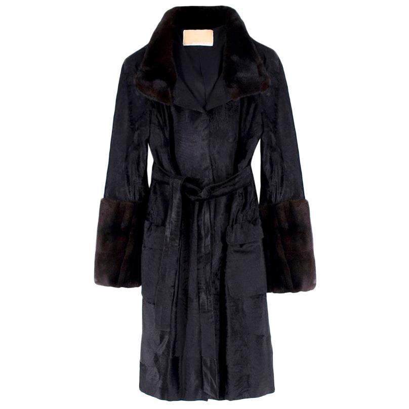 Michael Kors Black Lambs Fur & Brown Mink Fur Coat Size - US4