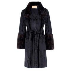 Michael Kors Black Lambs Fur & Brown Mink Fur Coat US 04