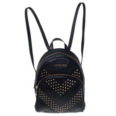 Michael Kors Black Leather Studded Abbey Backpack