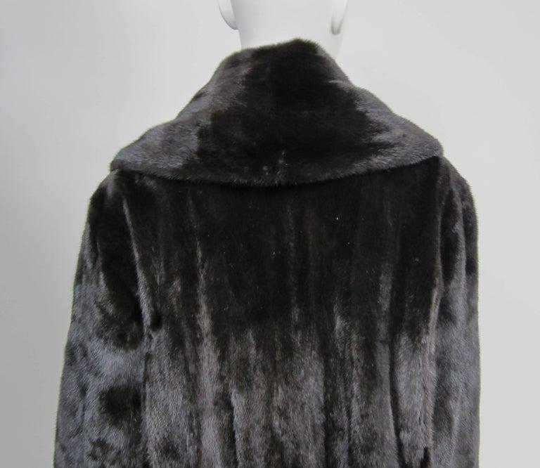 Michael Kors Black Ranch Mink Fur Coat wide Collar -Large  For Sale 2