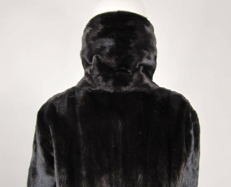 Michael Kors Black Ranch Mink Fur Coat wide Collar -Large  For Sale 3