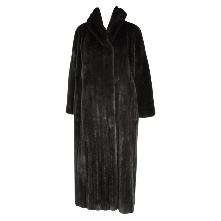 Michael Kors Black Ranch Mink Fur Coat wide Collar -Large  For Sale