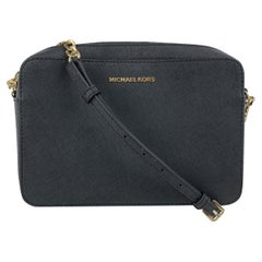 Michael Kors Black Saffiano Leather Jet Set Zip Crossbody Bag