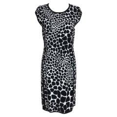 Michael Kors Black & White Knit Stretch Animal Print Dress Large
