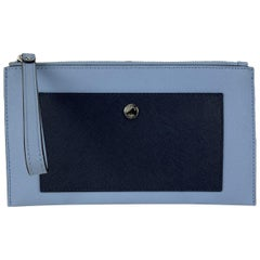 Michael Kors Blue Bicolor Leather Wristlet Pouch Bag with Pocket