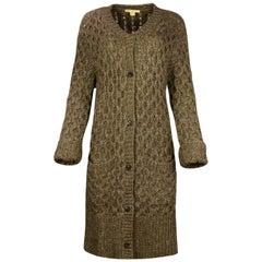 Michael Kors Brown Alpaca Wool Extra Long Knit Sweater Coat sz S