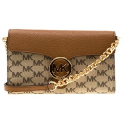 Michael Kors Brown/Beige Coated Canvas and Leather Vanna Crossbody Bag