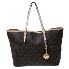 Michael Kors Brown Signature Coated Canvas Jet Set Tote