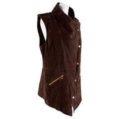 Michael Kors Brown Suede Asymmetric Sleeveless Jacket - Size US 8