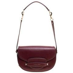 Michael Kors Burgundy Leather Medium Cary Saddle Shoulder Bag