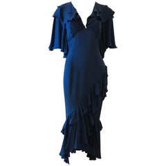 Michael Kors Collection All Silk Crepe Teal Dress (2019) - Small