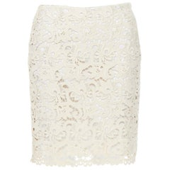 """MICHAEL KORS COLLECTION beige embroidered lace fited skirt US2  26"""""""