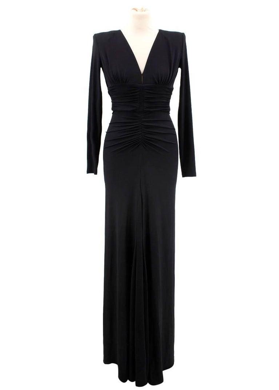 Michael Kors black long dress  Featuring: -long sleeves -back zip fastening -shoulder pads -v-neckline -pleats detailing -maxi length -stretchy material  Approx. Shoulders: 36cm Bust: 37cm Length: 154cm   US Size: 0