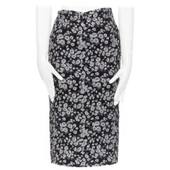 MICHAEL KORS COLLECTION black silver floral jacquard pencil skirt US0