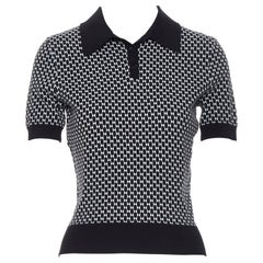 MICHAEL KORS COLLECTION black white geometric stretch knit polo shirt top XS