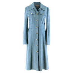 Michael Kors Collection Blue Suede Trench Coat Dress - Us size 2