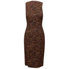 Michael Kors Collection Brown Feather Print Midi Dress