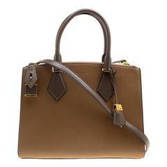 Michael Kors Collection Brown/Tri Color Leather Large Casey Satchel