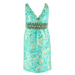 Michael Kors Collection Crystal Embellished Metallic Brocade Dress SIZE 8