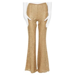 MICHAEL KORS COLLECTION gold floral lace nude lined flared pants US0