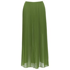MICHAEL KORS COLLECTION kelly green polyester pleated maxi skirt US0