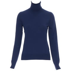 MICHAEL KORS COLLECTION navy blue minimalist short fit turtleneck sweater top XS