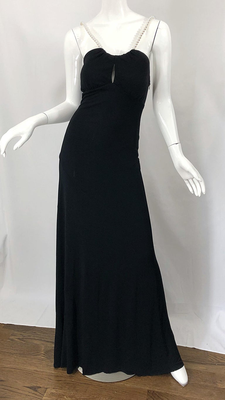 Michael Kors Collection Pearl Open Back Size 4 / 6 Black Grecian Gown Dress For Sale 7