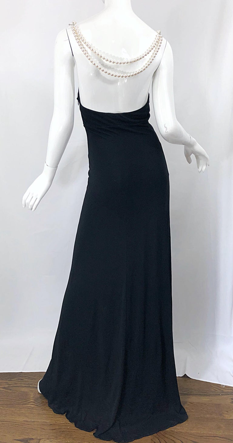 Michael Kors Collection Pearl Open Back Size 4 / 6 Black Grecian Gown Dress For Sale 12