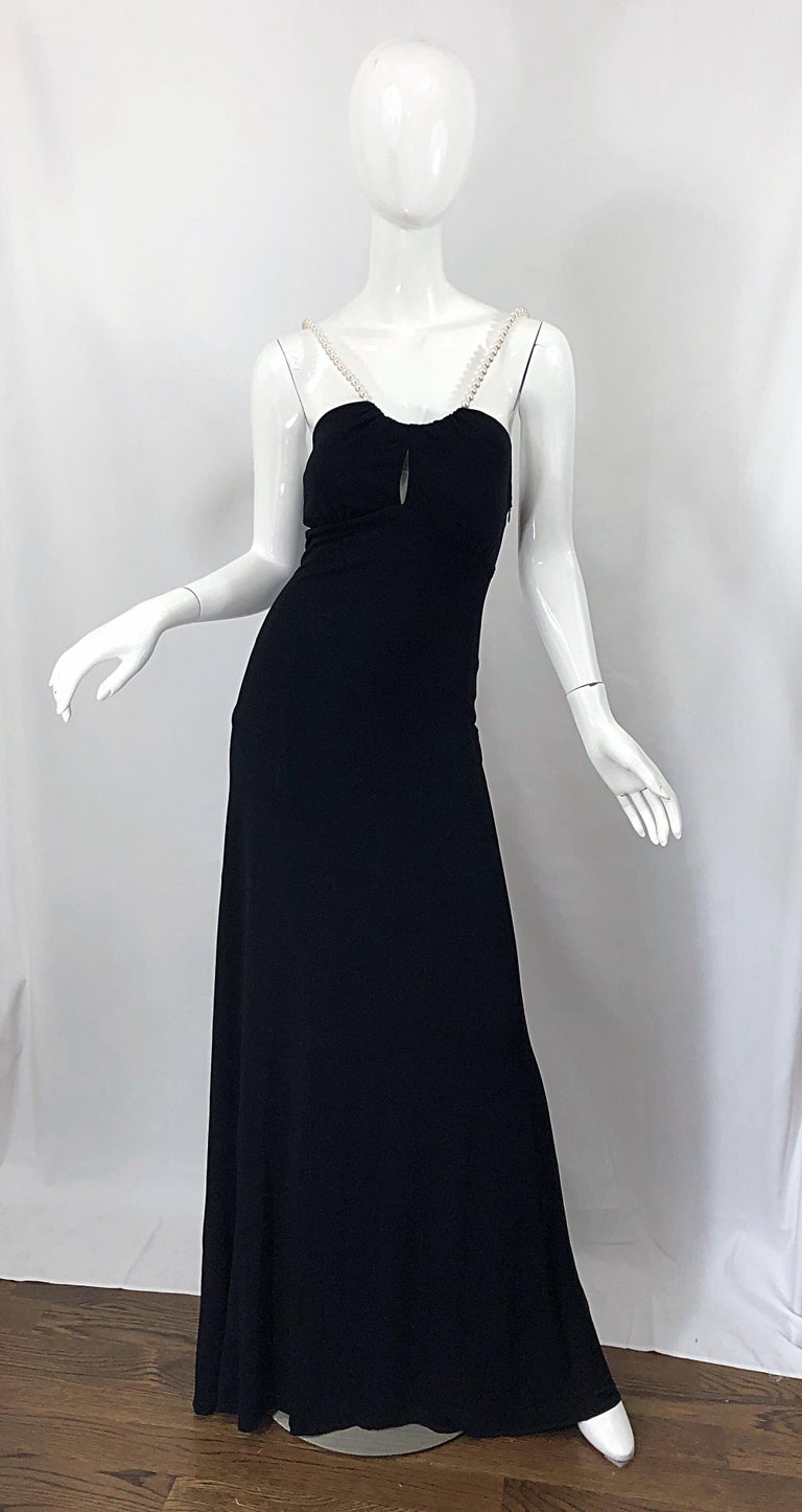 Michael Kors Collection Pearl Open Back Size 4 / 6 Black Grecian Gown Dress For Sale 13