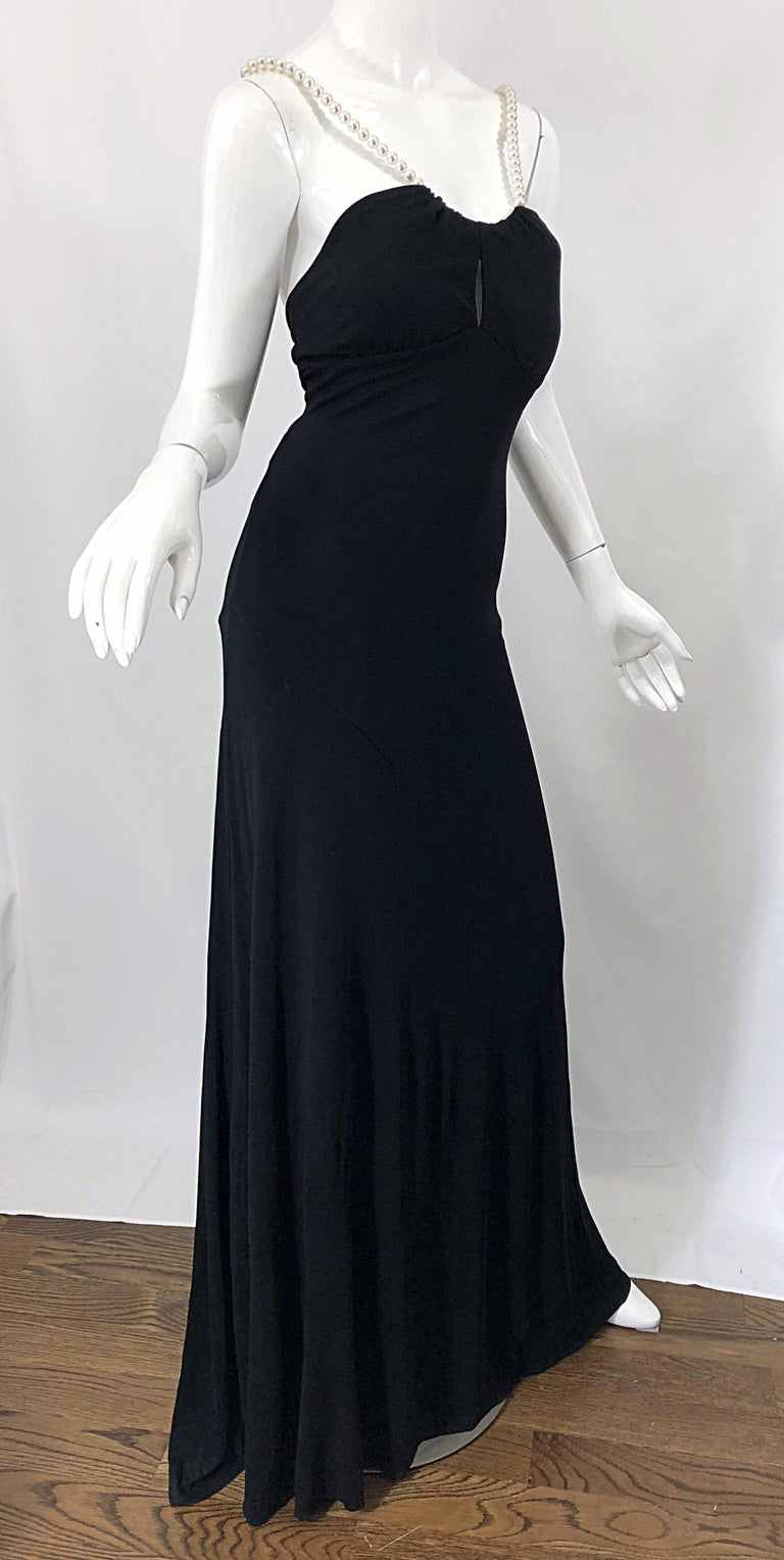 Michael Kors Collection Pearl Open Back Size 4 / 6 Black Grecian Gown Dress For Sale 4