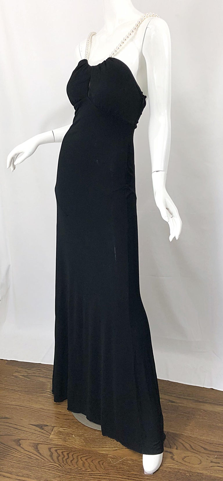 Michael Kors Collection Pearl Open Back Size 4 / 6 Black Grecian Gown Dress For Sale 5