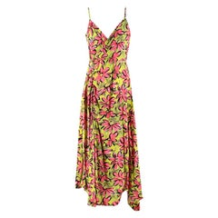Michael Kors Collection Runway Pink & Green Silk Floral Dress - Size US 8