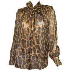 Michael Kors Collection Silk Leopard Print Blouse