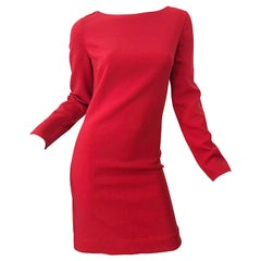 Michael Kors Collection Size 10 Early 2000s Lipstick Red Long Sleeve Dress