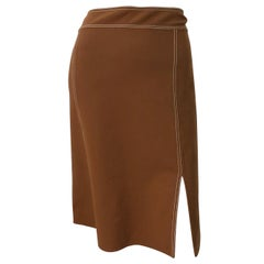 Michael Kors Collection Size 12 Caramel Brown Stretch Wool Jersey Pencil Skirt