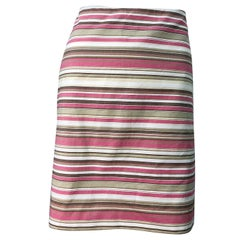 Michael Kors Collection Size 12 Pink + Brown + Tan 2000s Cotton Striped Skirt