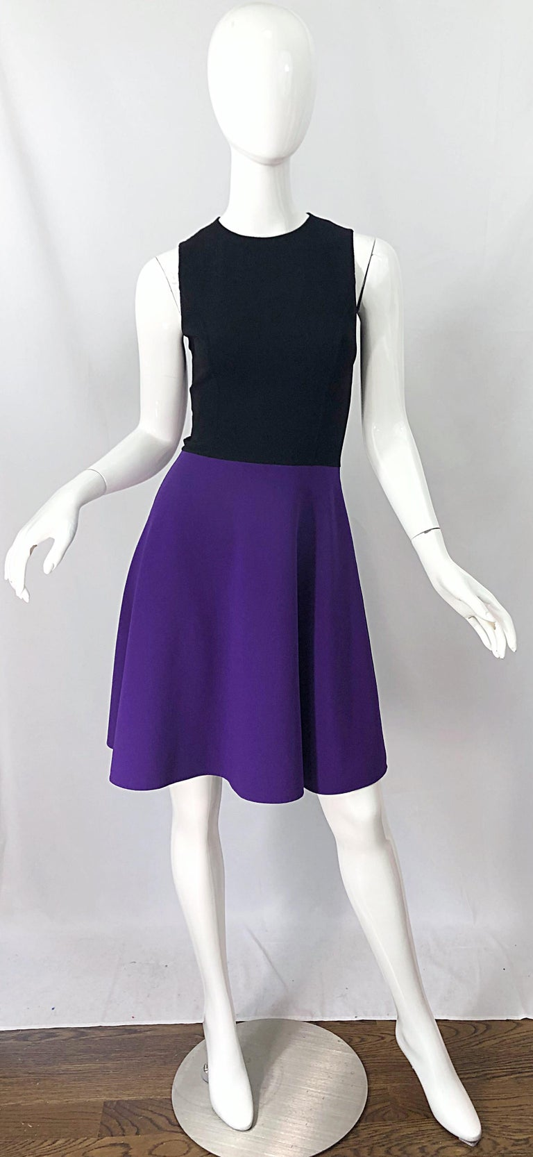 Michael Kors Collection Size 2 / 4 Purple + Black Color Block Sleeveles Dress For Sale 6