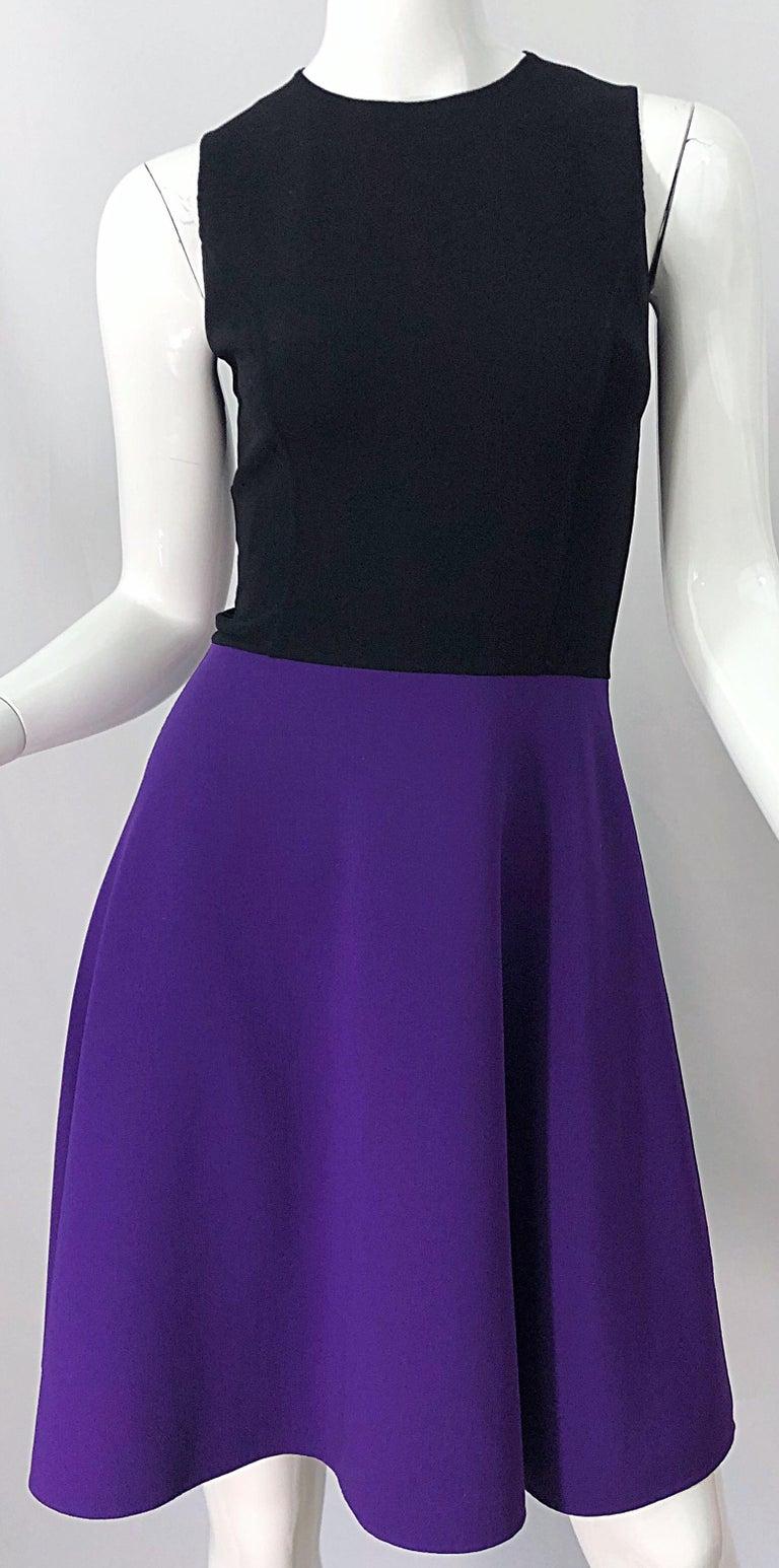 Michael Kors Collection Size 2 / 4 Purple + Black Color Block Sleeveles Dress For Sale 1