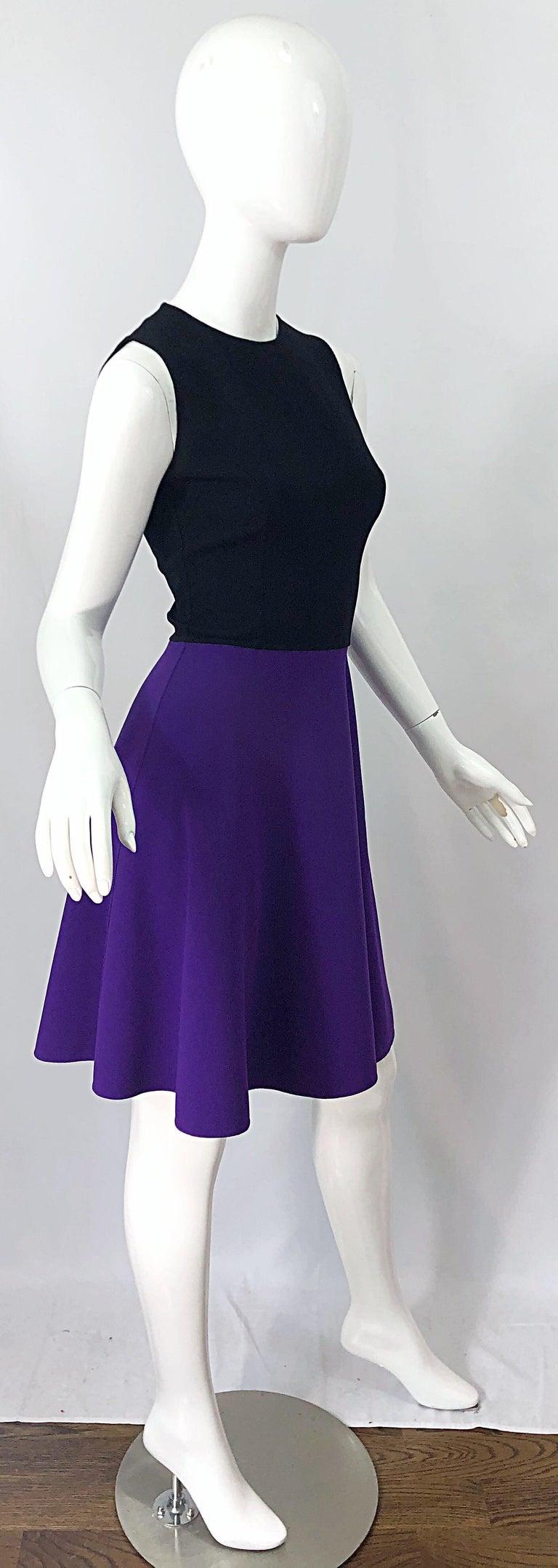 Michael Kors Collection Size 2 / 4 Purple + Black Color Block Sleeveles Dress For Sale 2