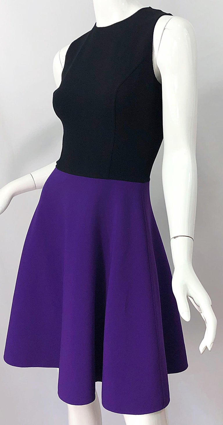 Michael Kors Collection Size 2 / 4 Purple + Black Color Block Sleeveles Dress For Sale 3