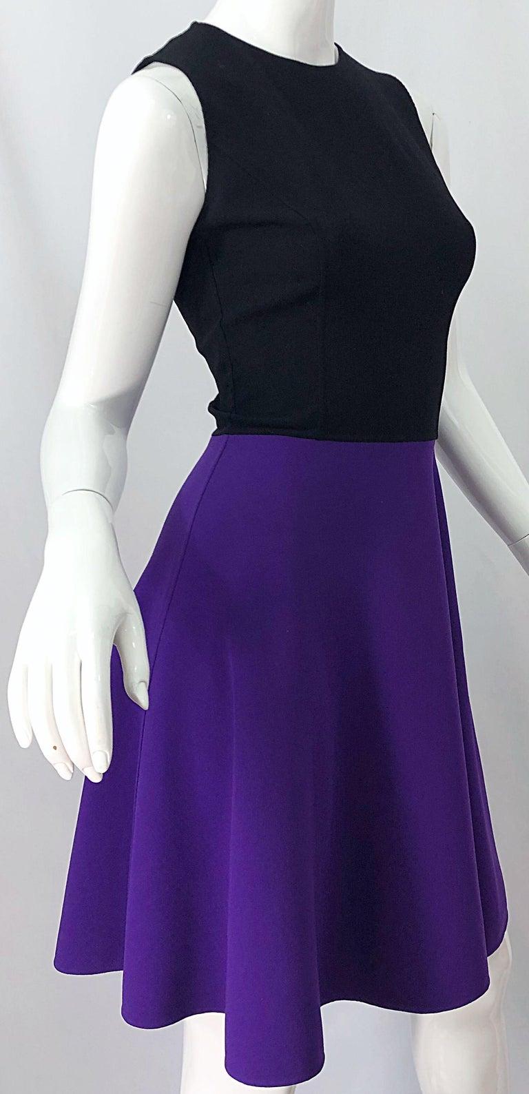 Michael Kors Collection Size 2 / 4 Purple + Black Color Block Sleeveles Dress For Sale 4
