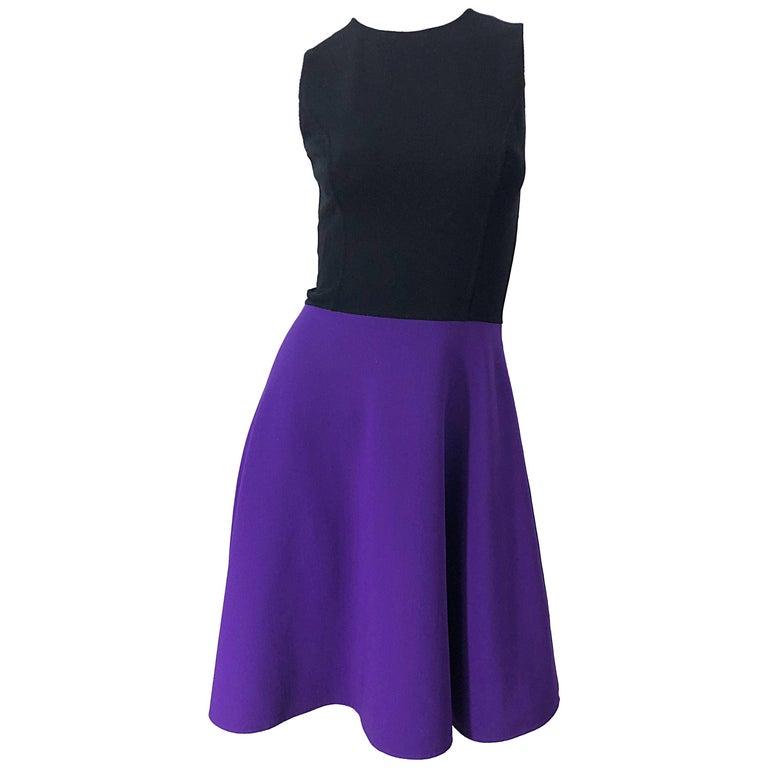 Michael Kors Collection Size 2 / 4 Purple + Black Color Block Sleeveles Dress For Sale