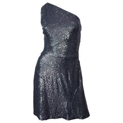 Michael Kors Collection $2,798 Size 6 Gunmetal Grey Sequined One Shoulder Dress