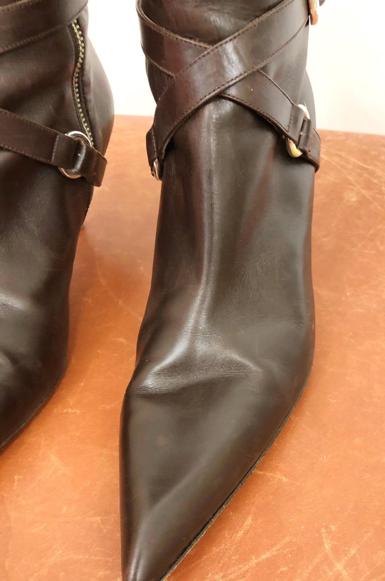 Women's Michael Kors Collection Size 8 Chocolate Brown Leather High Heel Knee High Boots For Sale