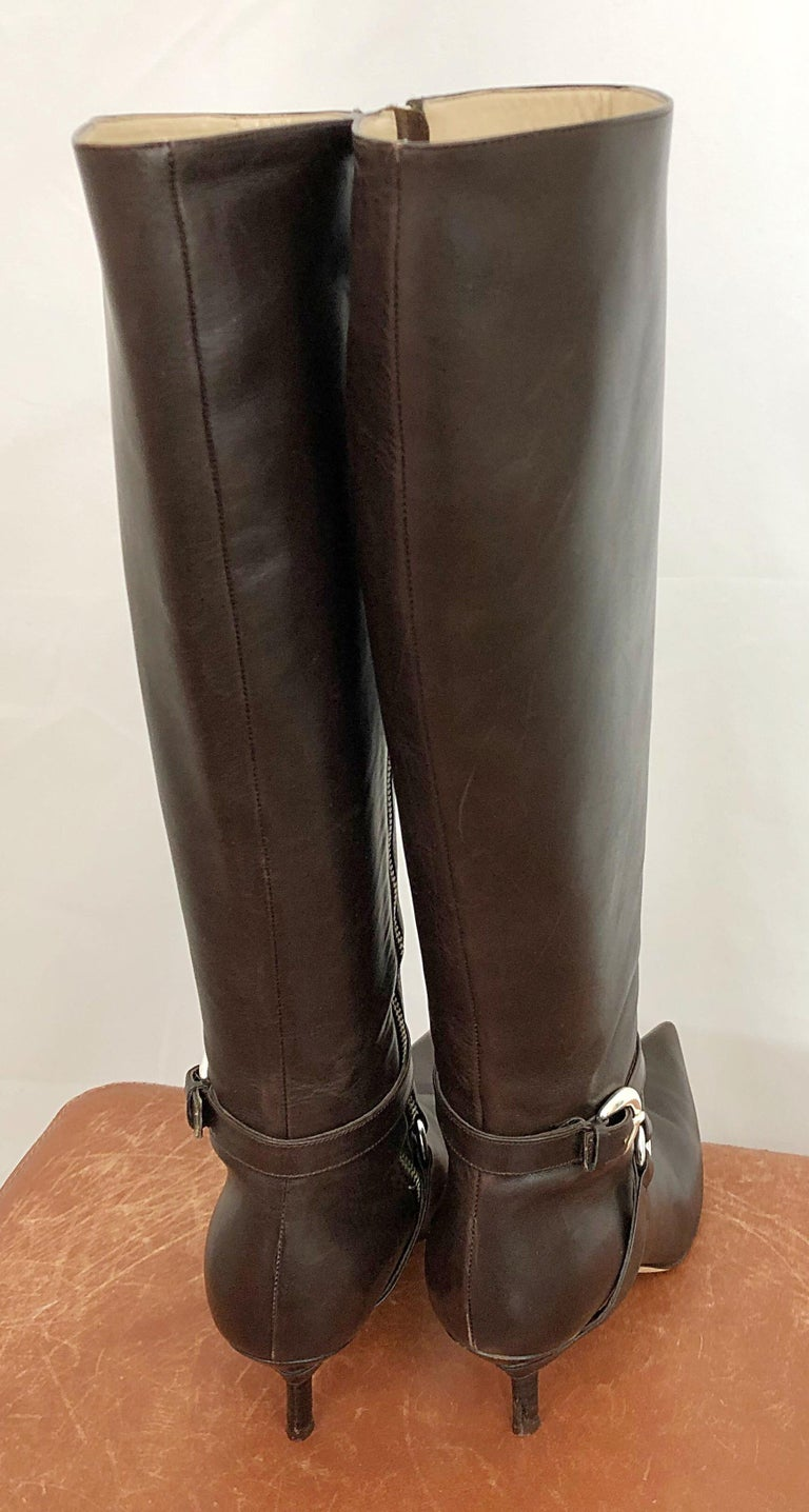 Michael Kors Collection Size 8 Chocolate Brown Leather High Heel Knee High Boots For Sale 1