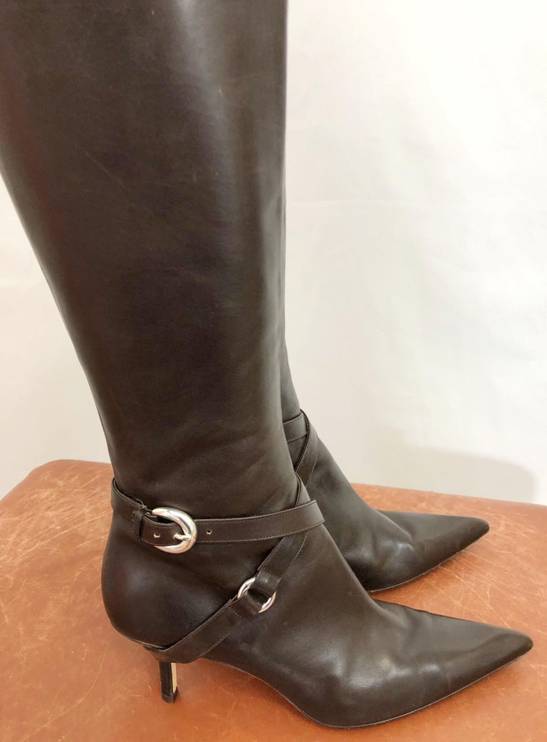 Michael Kors Collection Size 8 Chocolate Brown Leather High Heel Knee High Boots For Sale 2
